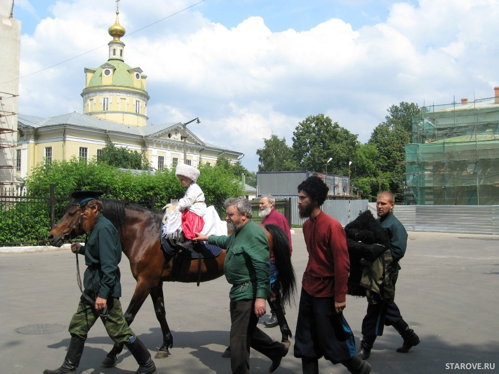Посажение на коня в центре Москвы