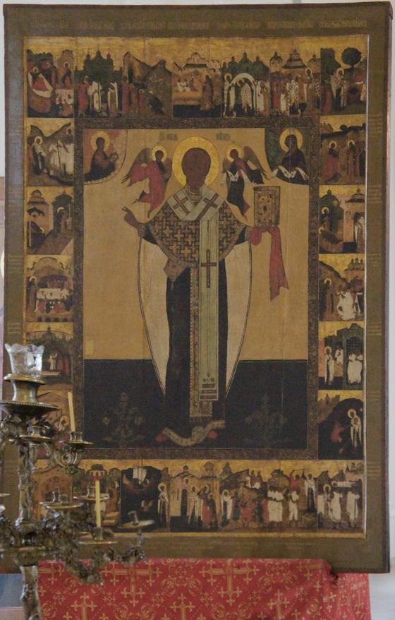Икона святителя Николы, чей оклад не пострадал во время бесчинств наполеоновских солдат на Рогожском