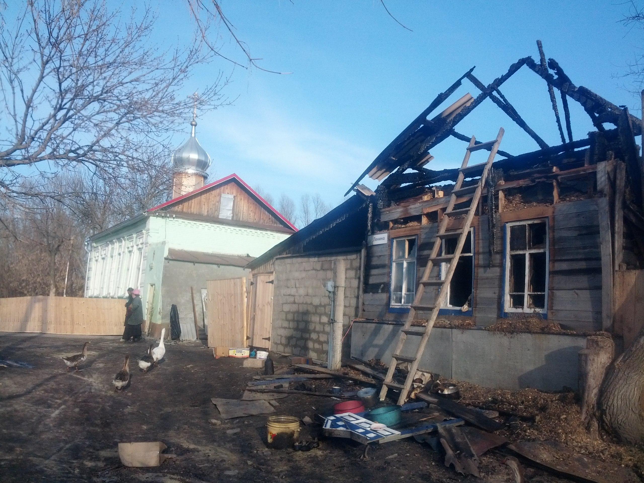Дом о.Вадима Коровина возле храма в с.Сосновая маза сгорел до тла.
