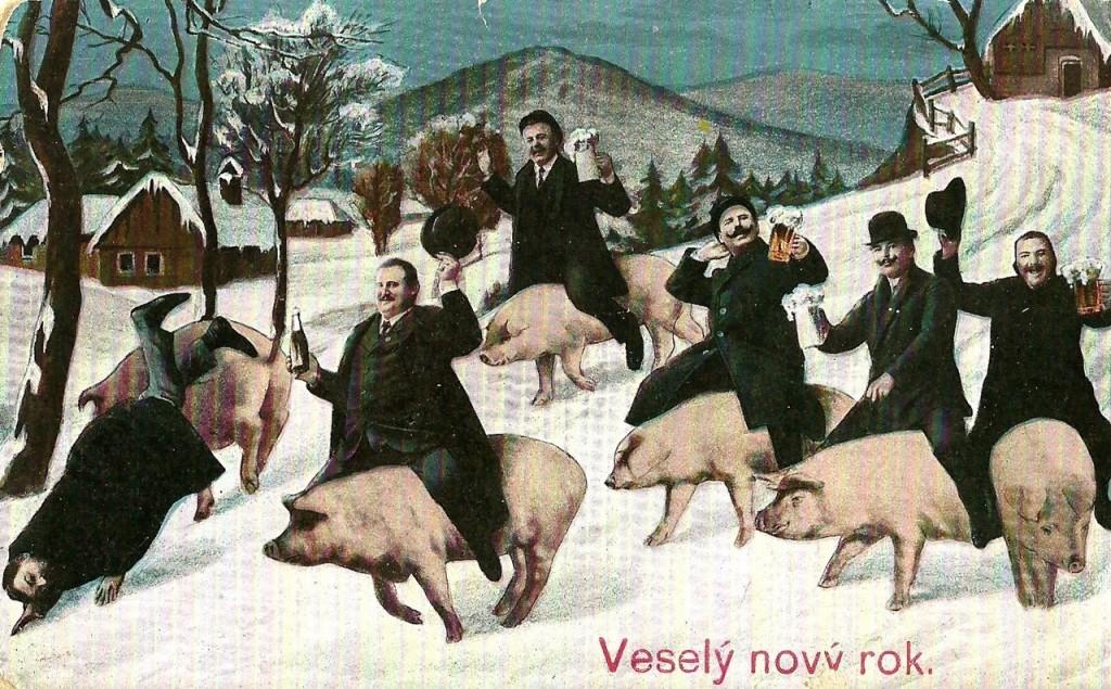 новый год, открытка, вино, пьянство