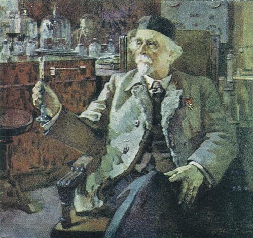 Академик Н.Д. Зелинский. Художник П. Котов. Почтовая карточка, 1951