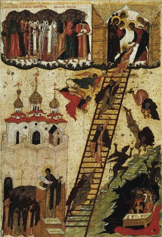 Икона Видение преподобного Иоанна Лествичника. Середина XVI века