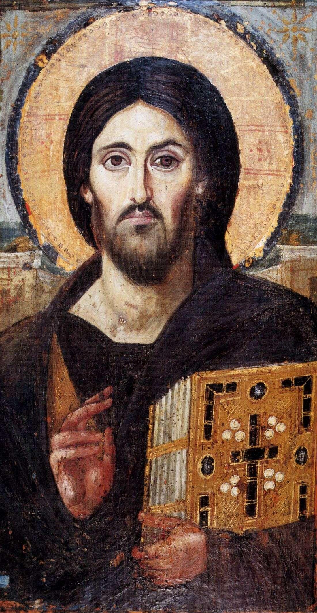 Христос Пантократор (одна из древнейших икон Христа, VI век, монастырь Святой Екатерины)