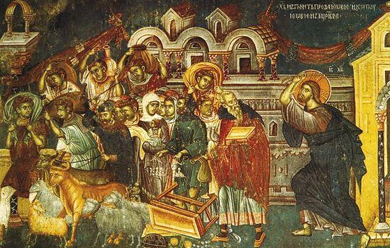 Изгнание торгующих из храма. Фреска в церкви святого Никиты близ Скопье. 1483-84 гг.