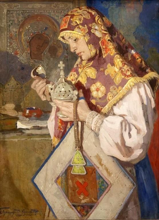 """""""В молитве"""" Горюшкин-Срокопудов 1900 г."""