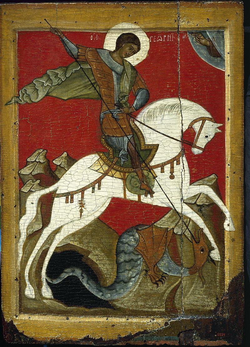 «Чудо Георгия о змие» (икона, конец XIV века)