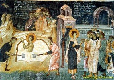 Святой Георгий брошен в яму с известью и выпил яд чародея
