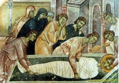 Погребение Святого Георгия, фреска из монастыря Высокие Дечаны, Сербия, Косово