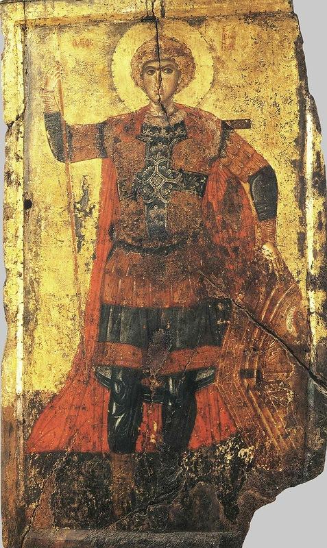 Икона «Святой Георгий Победоносец» (XIIв), хранится в Успенском соборе Московского кремля. Это одно из очень ранних изображений святого Георгия. Перед нами юноша с красивыми и выразительными глазами, сосредоточенным взглядом, плотно сжатыми губами, кудрявые волосы пышной шапкой окружают его благородный лик.