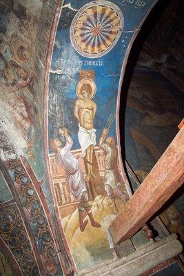 Бичевание св. Георгия, фреска из монастыря Высокие Дечаны, Сербия, Косово