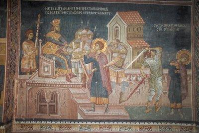 Святой Георгий приговорен Диоклетианом к смерти,фреска из монастыря Высокие Дечаны, Сербия, Косово