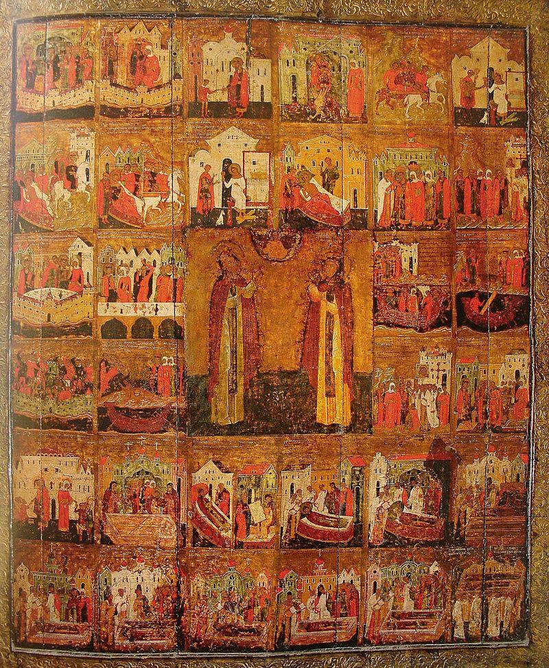 Петр и Феврония Муромские с житием. Икона. Русь. 1618 г.