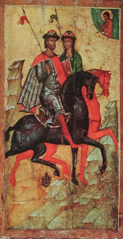 Борис и Глеб на конях (икона XIV века, ГТГ)