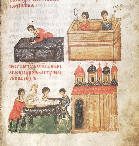 Строительство Борисоглебского храма в Вышгороде и перенесение в 1115 году мощей братьев в новый храм