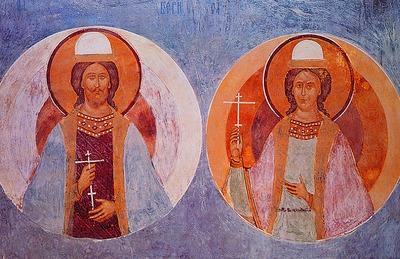 Борис и Глеб (фреска собора Рождества Богородицы Ферапонтова монастыря, Дионисий 1502—1502 годы)