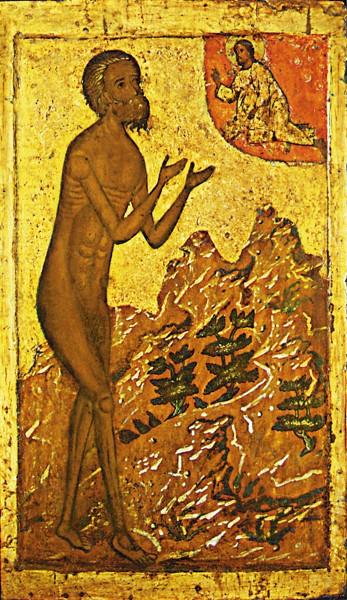 Икона Святого Василия Блаженного в молении ко Христу Икона была написана в конце XVI века для собора Покрова-на-Рву, который более известен как Храм Василия Блаженного. Икона до сих пор хранится на прежнем месте и является одним из самых старых образов храма.