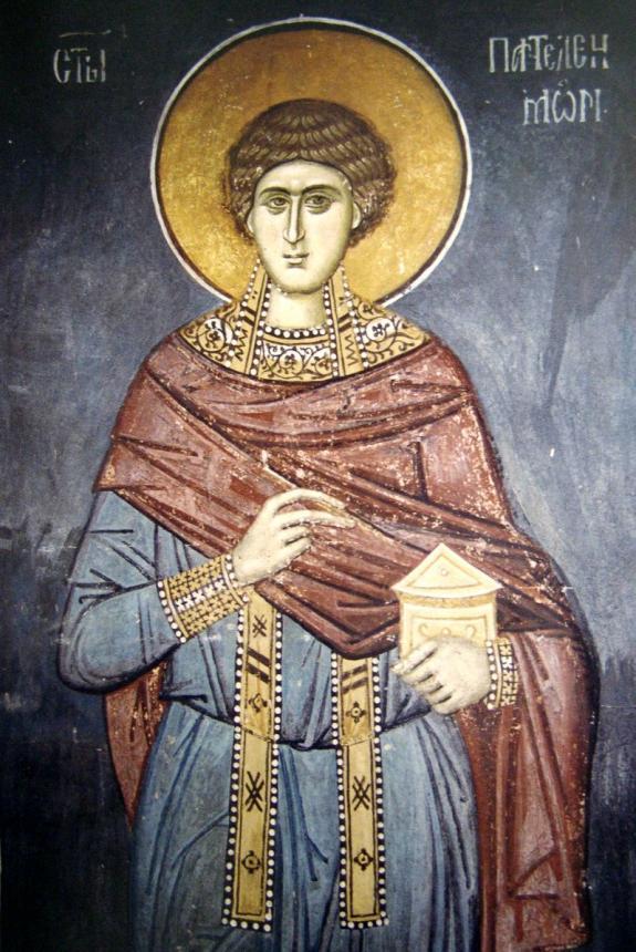 Фреска великомученик Пантелеймон целитель, Сербия. XIV век. Косово. Монастырь Высокие Дечаны