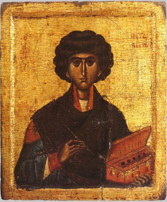 Икона, великомученик Пантелеймон целитель, Византия. 1300 г. Греция. Афон. Хидандар