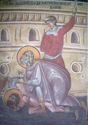 Мчч. Дада, Гаведдай. Фреска церкви Благовещения. Грачаница. Косово. Сербия. Около 1318 г.