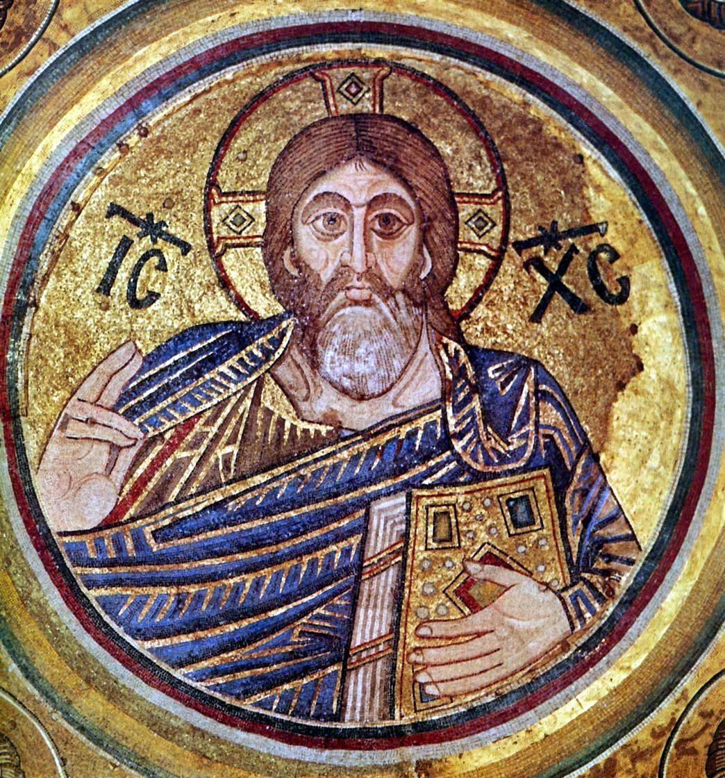 Христос Пантократор. 1043–1046гг. Собор св. Софии, Киев. Мозаика в зеркале купола.