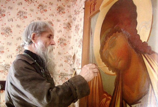 Симеон Терентьевич Быкадоров за работой. Фото из Древлеправославного календаря на 2008 год (Рига)