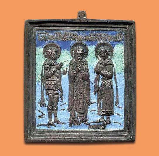 Священномученики Иоанн Воин, Харалампий и Вонифатий. XIX век. Литая икона