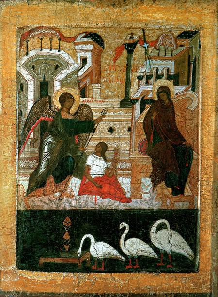 Благовещение. Икона из Покровского монастыря в Суздале. Середина-третья четверть 16 в. Владимиро-Суздальский музей-заповедник