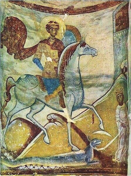 Чудо Георгия о змие. Старая Ладога, XII в.