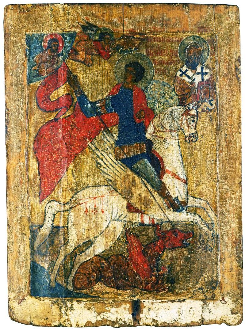 Довольно редкая иконография - Георгий Победоносец на крылатом коне.
