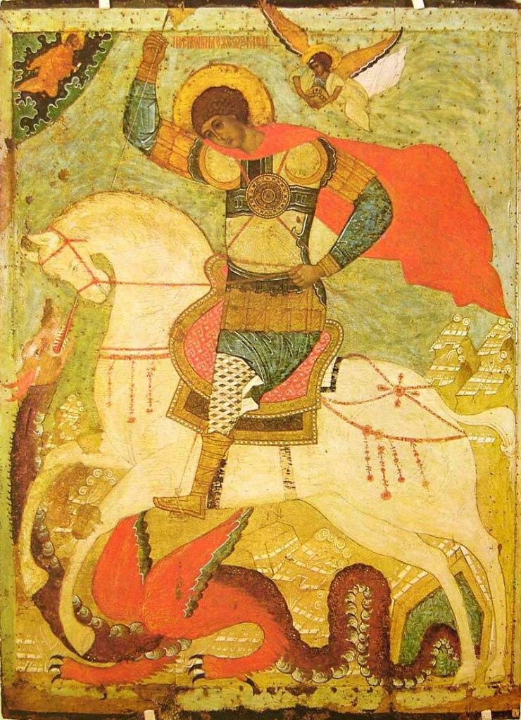 Чудо Георгия о змие. Середина XVI в.  Из Теребужского погоста.
